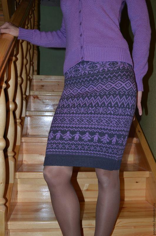 """Юбки ручной работы. Ярмарка Мастеров - ручная работа. Купить Юбка вязаная """"Сиреневые мотивы"""". Handmade. Комбинированный, юбка теплая"""