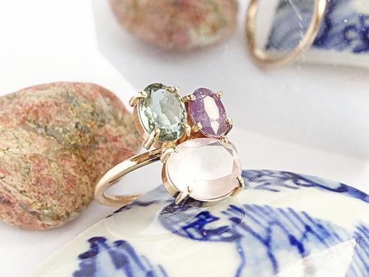 Кольца ручной работы. Ярмарка Мастеров - ручная работа. Купить Золотое кольцо с сапфиром, турмалином и розовым кварцем. Handmade. Комбинированный