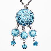 Украшения handmade. Livemaster - original item Pendant pendant with Paisley pattern 7 cm blue color. Handmade.