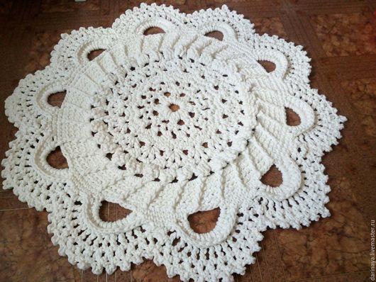 Текстиль, ковры ручной работы. Ярмарка Мастеров - ручная работа. Купить Ковер ручной работы. Handmade. Белый, ковер вязаный