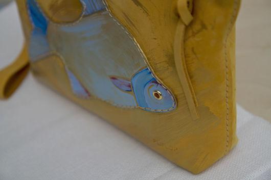"""Женские сумки ручной работы. Ярмарка Мастеров - ручная работа. Купить Кожаная косметичка """"Золотица"""". Handmade. Однотонный, желтый нубук"""