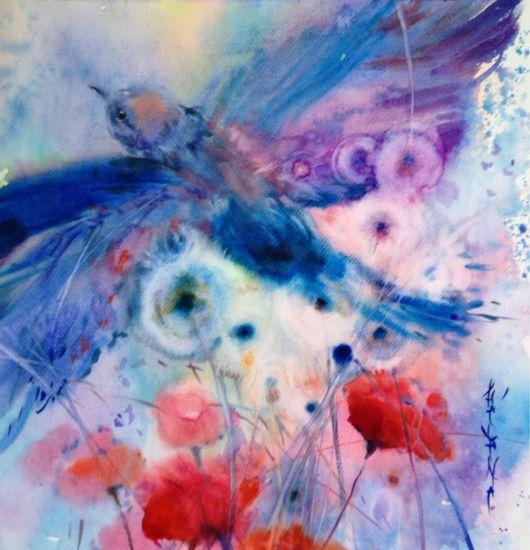 Символизм ручной работы. Ярмарка Мастеров - ручная работа. Купить Акварель летящая птица. Handmade. Бирюзовый, полет, одуванчики, цветы