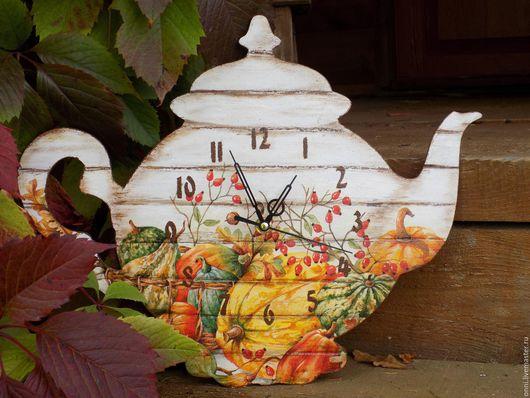Часы для дома ручной работы. Ярмарка Мастеров - ручная работа. Купить Осенний чай. Handmade. Оранжевый, часы, часы кухонные