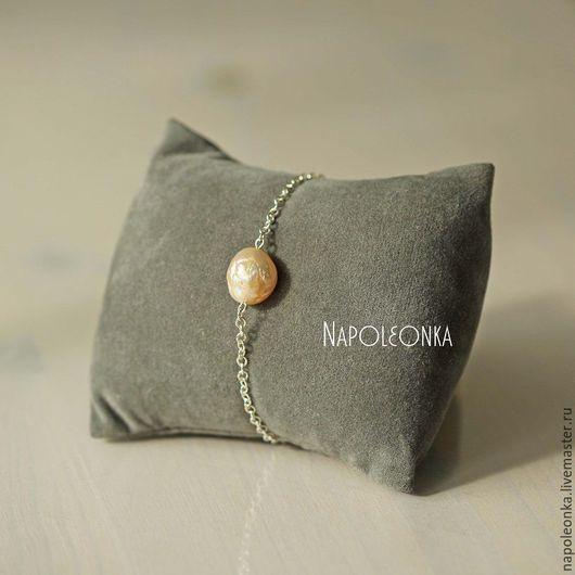 браслет с жемчужиной, жемчуг касуми, касуми, украшения с жемчугом, украшения касуми жемчуг, купить браслет в подарок, браслет на каждый день, серебряный браслет, нежный браслет, подарок девушке,