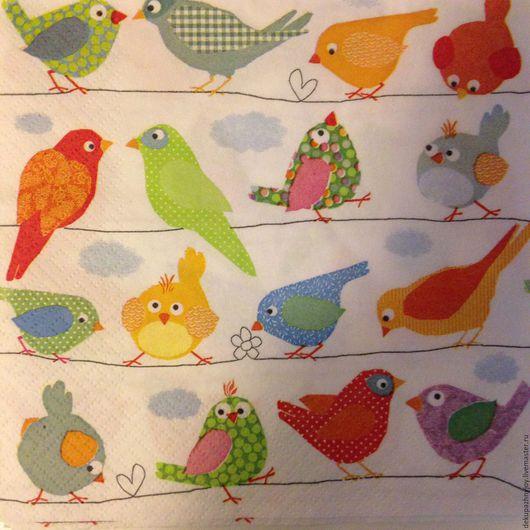Салфетка для декупажа - птички разные, многоэлементная Декупажная радость
