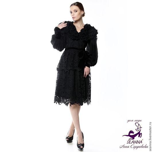 """Платья ручной работы. Ярмарка Мастеров - ручная работа. Купить Платье-пальто вечернее """"Черный бриллиант"""" из мягчайшего мохера, кружев. Handmade."""