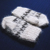 "Аксессуары handmade. Livemaster - original item Children`s knitted mittens ""Black + White"". Handmade."