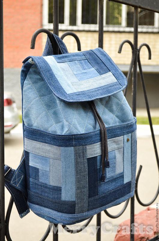 Рюкзаки ручной работы. Ярмарка Мастеров - ручная работа. Купить Джинсовый рюкзак. Handmade. Синий, для путешествий, подарок, шнурок