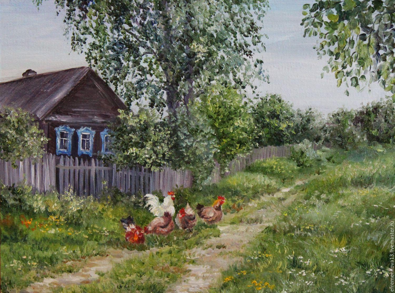 Картинка деревня летом, рождеством