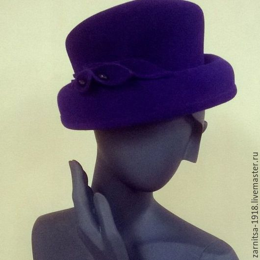 """Шапки ручной работы. Ярмарка Мастеров - ручная работа. Купить Фетровая шляпка """"Жоржетта"""". Handmade. Тёмно-фиолетовый, велюровая шляпка"""