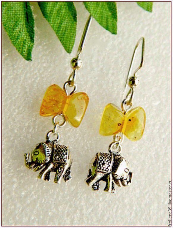 amber. earrings 'elephant gift' amber silver, Earrings, Moscow,  Фото №1
