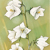 Картины ручной работы. Ярмарка Мастеров - ручная работа Белые Колокольчики -картина на шелке. Handmade.