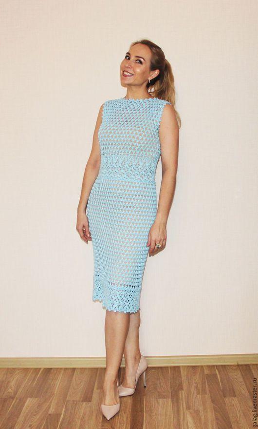 Платье на все случаи жизни. Небесно-голубого цвета. Хлопок/вискоза. Авторская работа. By_gala_zarubina Вы можете также приобрести схему к данному платью.