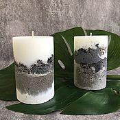 Свечи ручной работы. Ярмарка Мастеров - ручная работа Интерьерная свеча с бетонным основанием. Handmade.