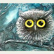 """Картины и панно ручной работы. Ярмарка Мастеров - ручная работа """"Совенок"""" рельефное панно. Handmade."""
