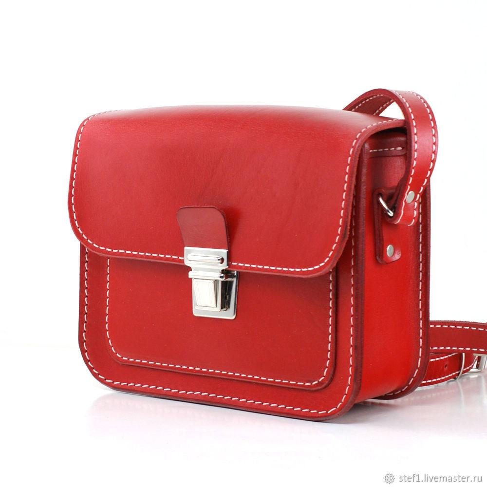 Красная женская кожаная сумка женская кожаная красные сумки, Сумка через плечо, Екатеринбург,  Фото №1