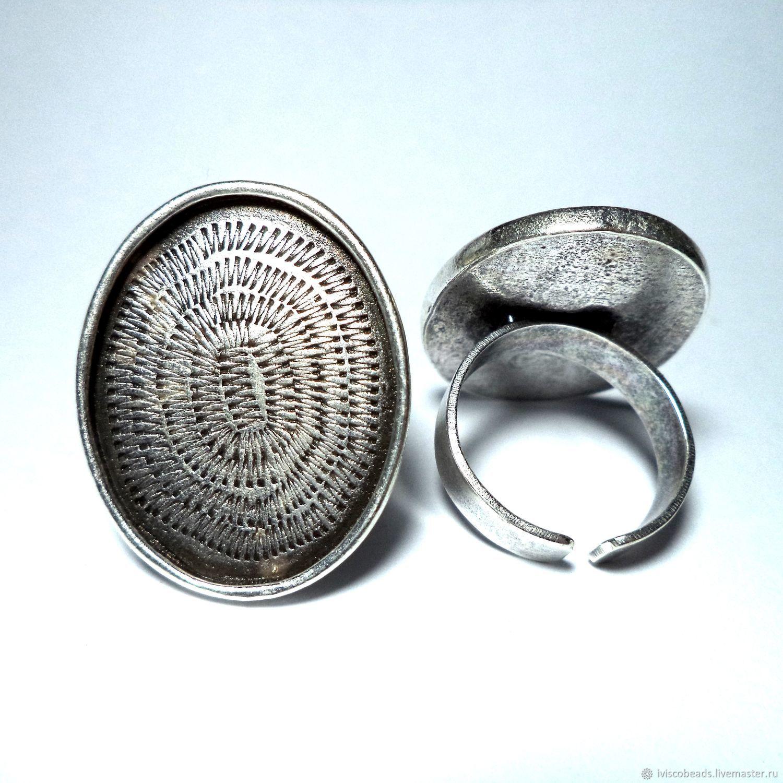 Основа для кольца овальная под заливку эмалью или кабошон, Фурнитура для украшений, Афины,  Фото №1