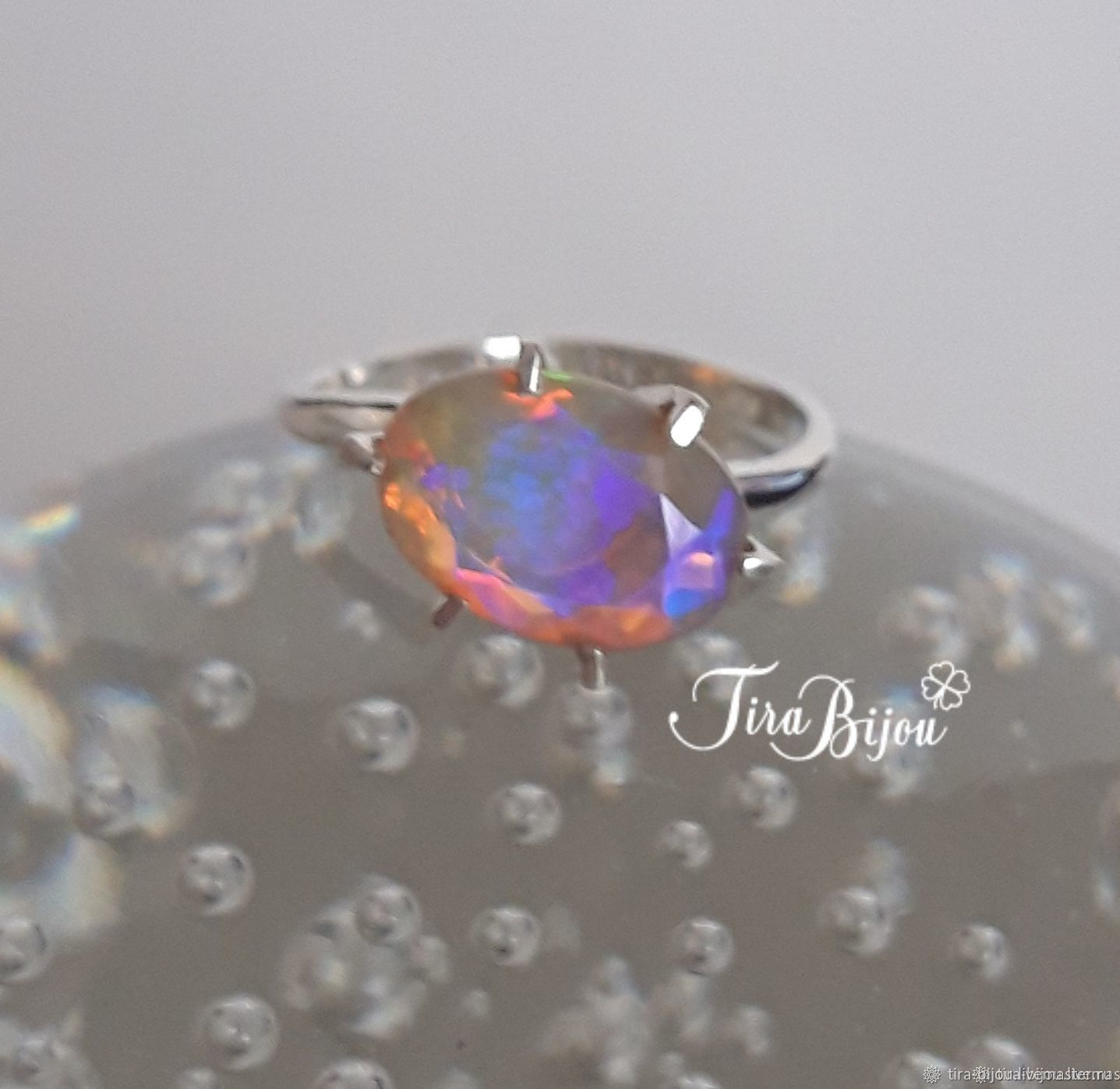 Silver ring with Ethiopian opal, Rings, Moscow,  Фото №1