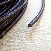 Материалы для творчества ручной работы. Ярмарка Мастеров - ручная работа Шнур кожаный, диаметр 3 мм, коричневый глянцевый с круглым сечением. Handmade.