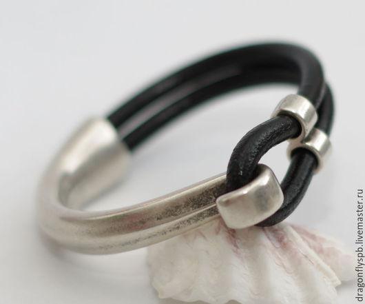 """Браслеты ручной работы. Ярмарка Мастеров - ручная работа. Купить Кожаный браслет """"лаконичность"""". Handmade. Черный, стильный браслет, стильный"""