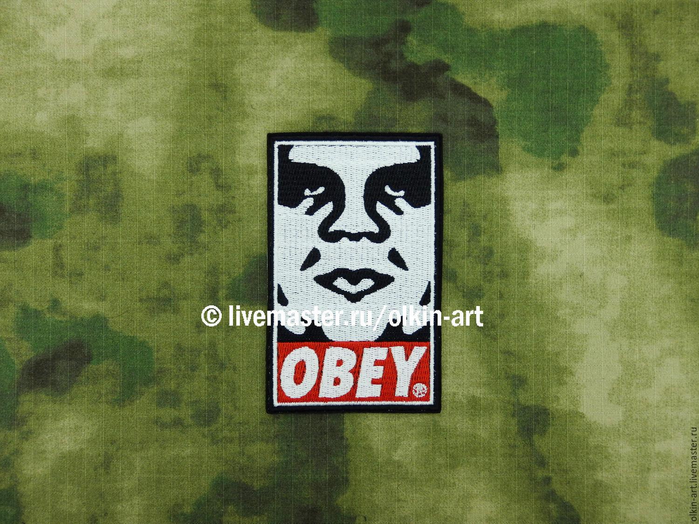 OBEY (лицо) Белорецкие нашивки. Нашивка. Шеврон. Патч. Вышивка. Лого. Логотип. Дизайн. Шевроны. Патчи. Нашивки. Купить нашивку.