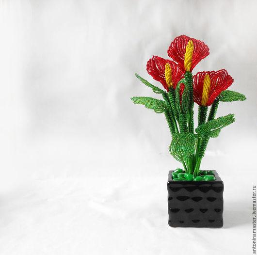 Цветы ручной работы. Ярмарка Мастеров - ручная работа. Купить Цветы из бисера. Каллы алые. Handmade. Ярко-красный