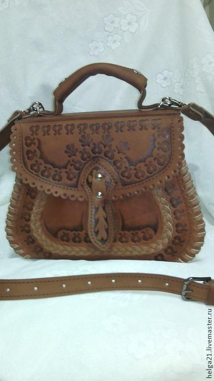 Женские сумки ручной работы. Ярмарка Мастеров - ручная работа. Купить саквояж кожаный №1. Handmade. Рыжий, сумка кожаная