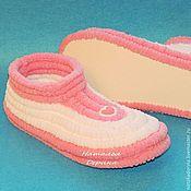 handmade. Livemaster - original item Plush knitted Slippers, Slippers soles. Handmade.
