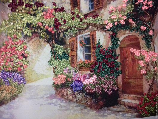 Картины цветов ручной работы. Ярмарка Мастеров - ручная работа. Купить Цветущий дворик. Handmade. Вышивка лентами, картины для интерьера