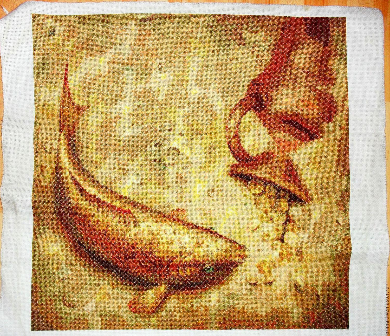 Вышивка золотого карпа