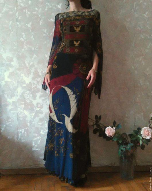 Платья ручной работы. Ярмарка Мастеров - ручная работа. Купить Платье в пол. Handmade. Тёмно-синий, геральдика принт