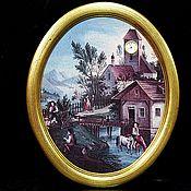Винтаж handmade. Livemaster - original item Panel with a Bradex clock. Handmade.