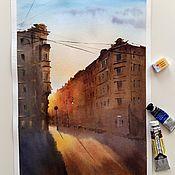 Pictures handmade. Livemaster - original item Watercolor painting Petersburg sunset (yellow-brown city landscape). Handmade.