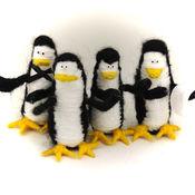 Куклы и игрушки ручной работы. Ярмарка Мастеров - ручная работа игрушка Пингвины из Мадагаскара(черный,белый,пингвинчик). Handmade.