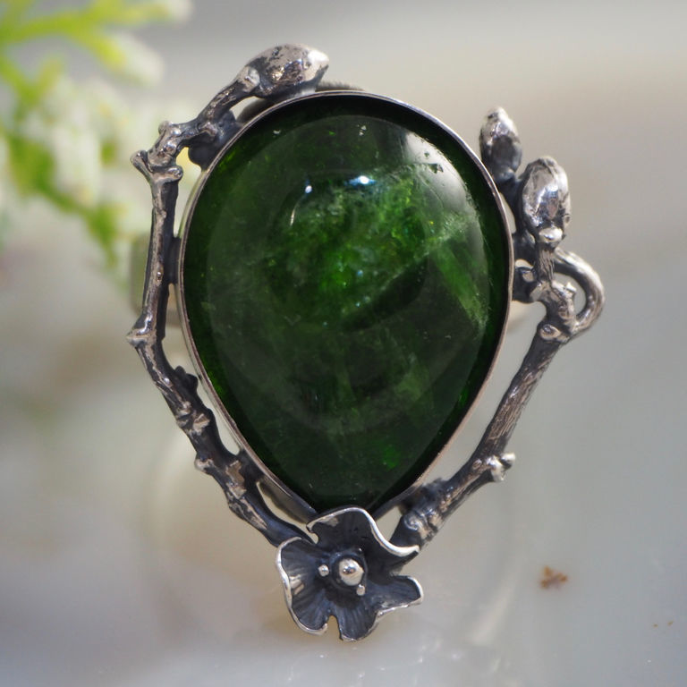 "Ring ""emerald glade"" the chrome diopside silver – shop online"