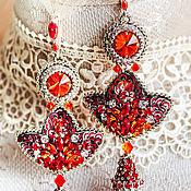 Украшения handmade. Livemaster - original item Carmelita Earrings. Embroidered earrings. Earrings with embroidery. Fire earrings. Handmade.