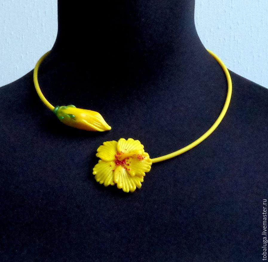 Necklace Hibiscus yellow lampwork, Necklace, St. Petersburg,  Фото №1