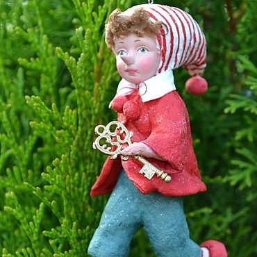 Куклы и игрушки ручной работы. Ярмарка Мастеров - ручная работа Ватная елочная игрушка Буратино. Handmade.