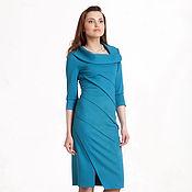 Одежда ручной работы. Ярмарка Мастеров - ручная работа 016: Платье с драпировкой, повседневное платье, платье на работу. Handmade.