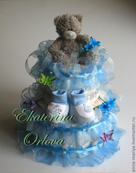Подарки для новорожденных, ручной работы. Ярмарка Мастеров - ручная работа. Купить Торт из памперсов (голубой). Handmade. Подарок на рождение, памперсы