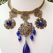 Украшения handmade. Livemaster - original item Set of crystal and filigree in the Oriental style of the azure evening.. Handmade.