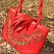 """Обувь ручной работы. Ярмарка Мастеров - ручная работа Сумка и валенки """" Королевский Крассный"""". Handmade."""