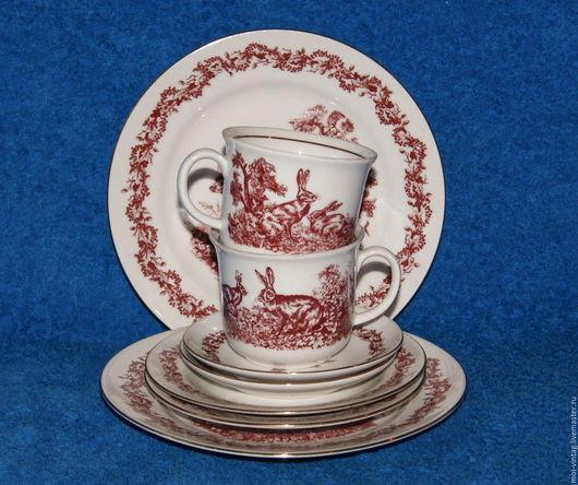 Винтажная посуда. Ярмарка Мастеров - ручная работа. Купить Чайное трио кофейное и тарелка природа охота jlmenau gdr. Handmade.