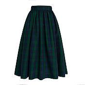 Одежда ручной работы. Ярмарка Мастеров - ручная работа Юбка пышная из шотландки MacLeod 80 см с карманами. Handmade.