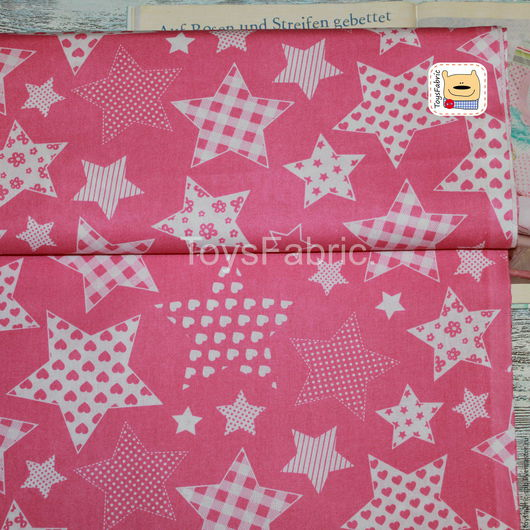 Шитье ручной работы. Ярмарка Мастеров - ручная работа. Купить Ткань польский  хлопок Звезды пэчворк на розовом (П285). Handmade.