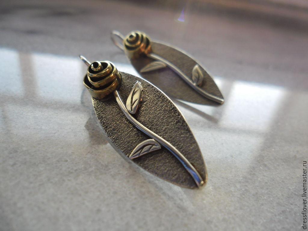 Серьги ручной работы. Ярмарка Мастеров - ручная работа. Купить Необычные серьги Розы, серьги из серебра, серебро минимализм. Handmade.