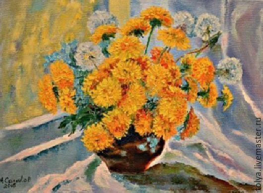 """Картины цветов ручной работы. Ярмарка Мастеров - ручная работа. Купить """"Солнце в горшке"""". Handmade. Картина на холсте, картина для интерьера"""