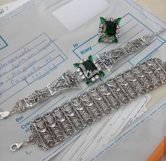 Браслеты ручной работы. Ярмарка Мастеров - ручная работа. Купить серебро 925 пробы. браслеты и кольца. Handmade. Зеленый
