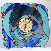 """Для дома и интерьера ручной работы. Ярмарка Мастеров - ручная работа Витражные часы """"Дельфин"""". Handmade."""