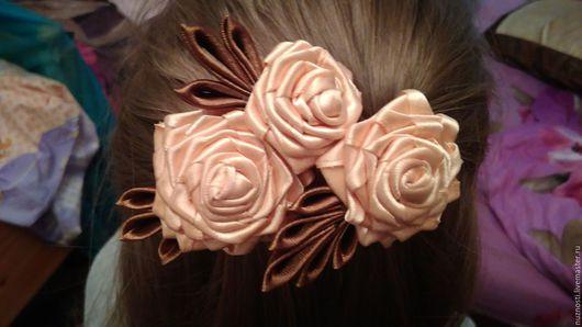 """Заколки ручной работы. Ярмарка Мастеров - ручная работа. Купить Заколка """"Нежные розы"""". Handmade. Заколка для волос, подарок девушке"""